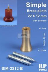 Simple brass plinth 22x12 mm